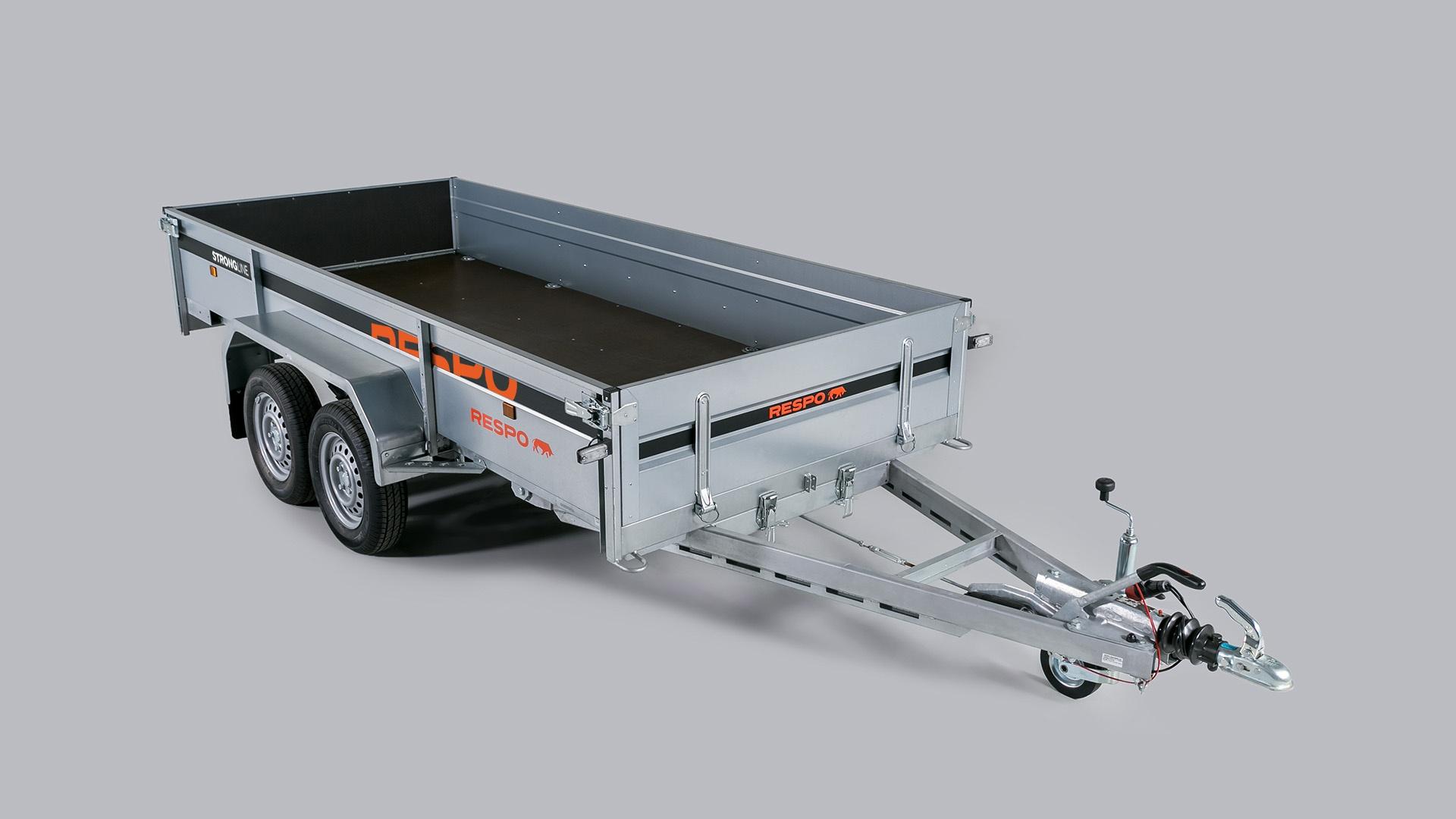 RESPO 1700M352L150 - dviašė linginė priekaba su stabdžiais ir atvertimo galimybe.
